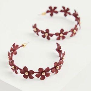 🆕Burgundy Floral Hoop Earrings Torrid New